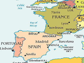 Here We Come France Spain The Domestic Blonde - France and spain map