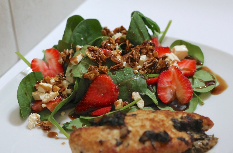 Strawberry, Feta & Spinach Salad with Candied Almonds