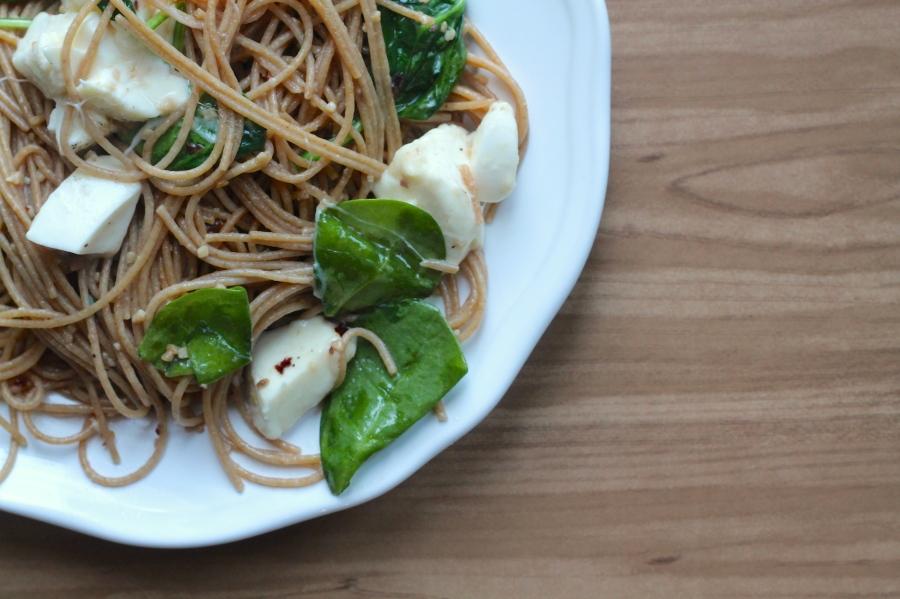 Spaghettini Mozzarella Anchovies Spinach
