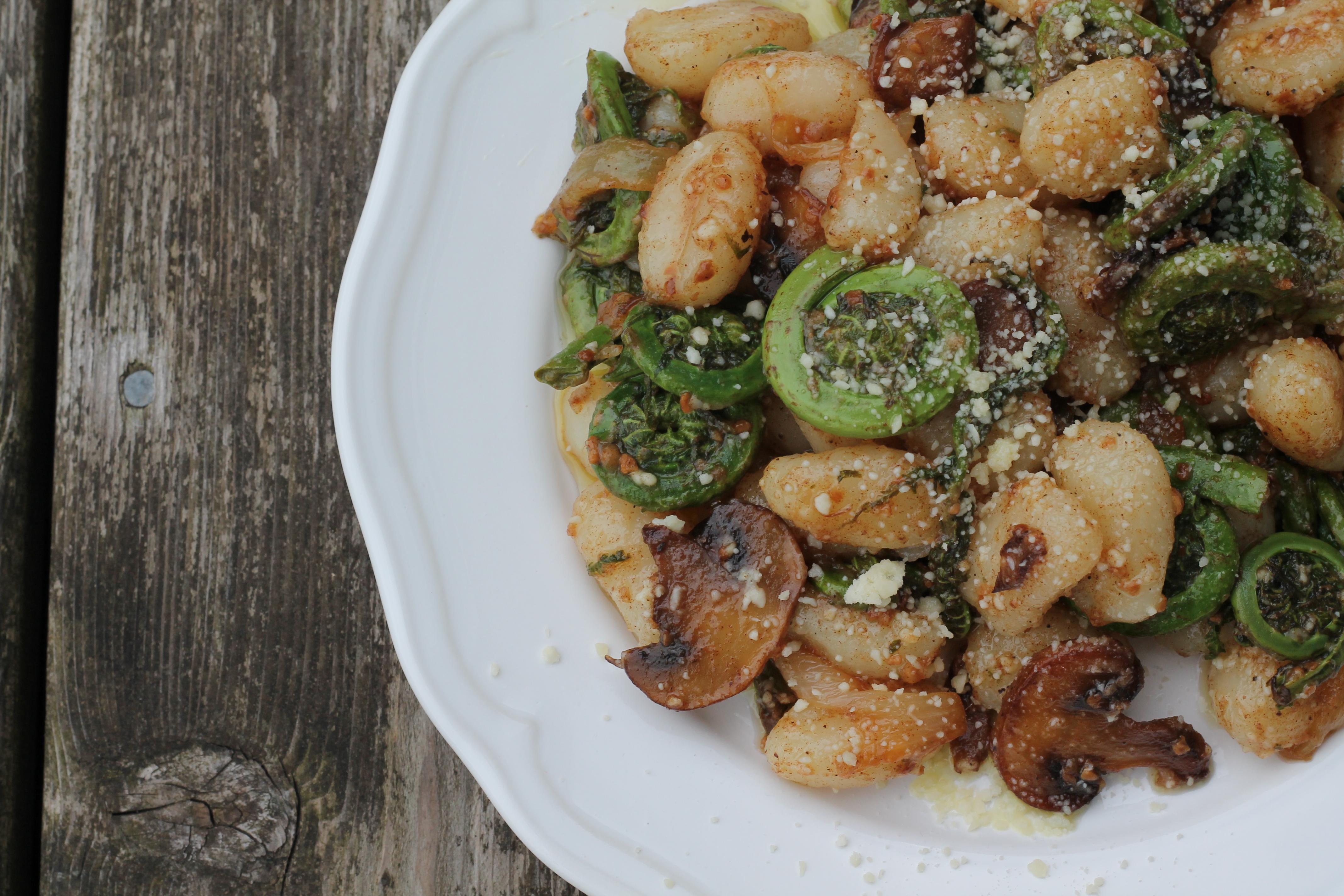 Brown Butter Fiddlehead Mushroom Gnocchi